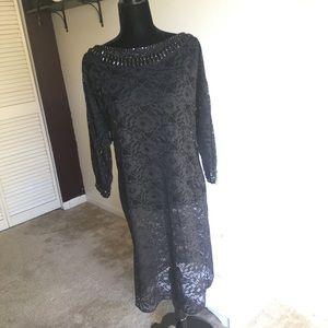 Teri Jon By Rickie Freeman Black Lace Gown Jewel